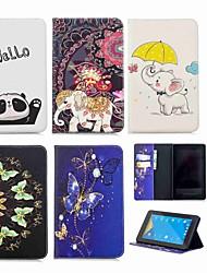Недорогие -Кейс для Назначение Amazon Kindle Fire 7(7th Generation, 2017 Release) Кошелек / Бумажник для карт / со стендом Чехол Слон Твердый Кожа PU