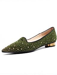Недорогие -Жен. Обувь Замша Весна лето Удобная обувь На плокой подошве На низком каблуке Заостренный носок Лак Черный / Зеленый