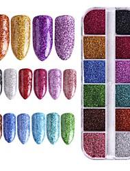 baratos -1pç Dicas de unhas artificiais Purpurina Design Moderno / Luminoso arte de unha Manicure e pedicure Retro Festa de Casamento / Roupa Diária