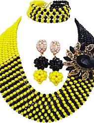 Недорогие -Жен. Многослойность Комплект ювелирных изделий - MOON Мода Включают Струнные ожерелья Темно-синий / Желтый / Красный Назначение Свадьба / Для вечеринок