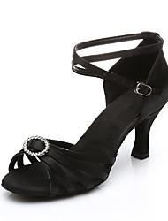 baratos -Mulheres Sapatos de Dança Latina Cetim Salto Cristal / Strass Salto Alto Magro Personalizável Sapatos de Dança Preto