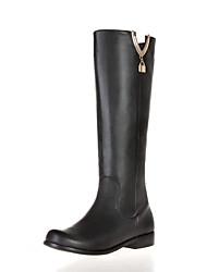 Недорогие -Жен. Обувь Кожа Наступила зима Модная обувь Ботинки На толстом каблуке Сапоги до середины икры Черный