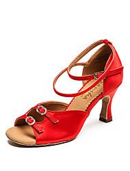 baratos -Mulheres Sapatos de Dança Latina Cetim Têni Salto Carretel Sapatos de Dança Vermelho