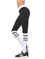 baratos -Mulheres Calças de Yoga Esportes Palavras Meia-calça Corrida, Fitness, Ginásio Roupas Esportivas Secagem Rápida, Respirabilidade, Confortável Micro-Elástica