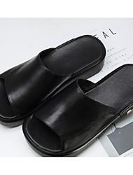 cheap -Women's Shoes Nappa Leather Summer Comfort Slippers & Flip-Flops Wedge Heel White / Black