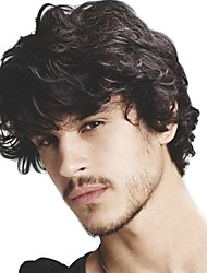 cheap -Men's Human Hair Toupees Wavy 100% Hand Tied Soft
