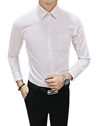 billige -Tynd Herre - Ensfarvet Bomuld Skjorte / Langærmet