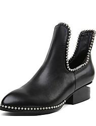 preiswerte -Damen Schuhe Nappaleder Herbst Winter Modische Stiefel Stiefel Niedriger Heel Runde Zehe Booties / Stiefeletten Perlenstickerei Schwarz