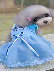 preiswerte -Hunde / Katzen / Pelzige Kleintiere Kleider Hundekleidung Herz / Prinzessin Blau / Rosa Baumwolle Jacquard / Baumwolle Kostüm Für Haustiere Weiblich Sport und Freizeit / Kleider & Röcke