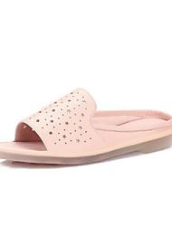 Недорогие -Жен. Обувь Овчина Весна лето Удобная обувь Тапочки и Шлепанцы На плоской подошве Белый / Желтый / Розовый