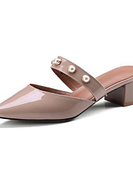 cheap -Women's Shoes Nappa Leather Spring & Summer Slingback Clogs & Mules Chunky Heel Pointed Toe Imitation Pearl Gray / Pink