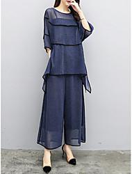 abordables -Mujer Noche / Trabajo Blusa - Un Color Pantalón