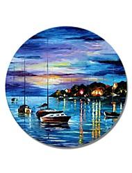 baratos -styledecor® moderna mão pintado quadro circular abstrato a praia à noite pintura a óleo sobre tela arte da parede na lona envolvida