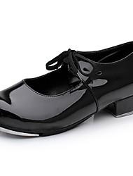 baratos -Mulheres Sapatilhas de Sapateado Couro Ecológico Têni Salto Grosso Sapatos de Dança Preto / Vermelho