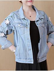baratos -Mulheres Jaqueta jeans Básico - Floral / Botânico Jacquard / Bordado