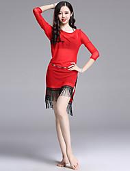 cheap -Belly Dance Outfits Women's Performance Spandex Ruching / Tassel 3/4 Length Sleeve Dress / Shorts