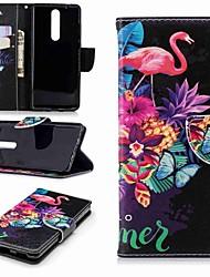 Недорогие -Кейс для Назначение Nokia Nokia 5.1 / Nokia 3.1 Кошелек / Бумажник для карт / со стендом Чехол Фламинго Твердый Кожа PU для Nokia 5 / Nokia 3 / Nokia 2.1