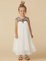 cheap -Sheath / Column Tea Length Flower Girl Dress - Chiffon Short Sleeve Jewel Neck with Beading by LAN TING BRIDE®