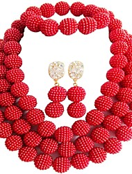 Недорогие -Жен. Многослойный Комплект ювелирных изделий MOON Дамы, Мода Включают Струнные ожерелья Синий / Розовый / Ярко-розовый Назначение Повседневные / Серьги