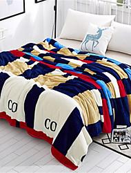 Недорогие -Коралловый флис, Пигментная печать В клетку Хлопок / полиэфир одеяла