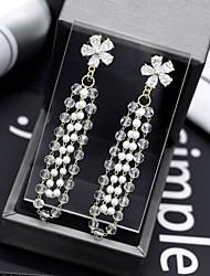 cheap -Women's AAA Cubic Zirconia Long Drop Earrings - Elegant, British White For Party / Evening / Festival