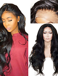 baratos -Perucas sintéticas / Perucas Lace Front Sintéticas Ondulado Corte em Camadas Cabelo Sintético Com Baby Hair / Macio / Resistente ao Calor Preta Peruca Mulheres Longo Frente de Malha / Sim