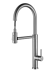 cheap -Kitchen faucet Stainless Steel / Brushed Steel Pull-out / Pull-down Free Standing