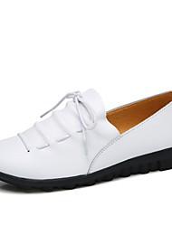 Недорогие -Жен. Обувь Кожа Весна лето Удобная обувь Мокасины и Свитер На плоской подошве Круглый носок Пряжки Черный / Зеленый / Синий