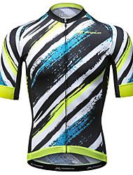 abordables -Mysenlan Homme Manches Courtes Maillot de Cyclisme - Jaune + bleu. Rayure Cyclisme Maillot Polyester / Expert / Techniques de Couture Avancées / Encre importée d'Italie / Dessous de Bras Respirants