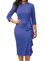 economico -Per donna Moda città / sofisticato Attillato / Fodero Vestito - Con balze / Con stampe, A pois Medio