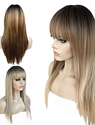 cheap -Synthetic Wig Straight Blonde Layered Haircut Synthetic Hair 100% kanekalon hair Blonde / Gray Wig Women's Long Capless / Doll Wig