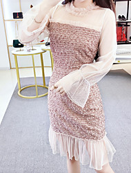 cheap -Women's Going out Slim Chiffon Dress Lace Crew Neck