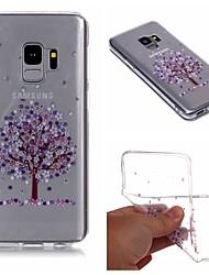 Недорогие -Кейс для Назначение SSamsung Galaxy S9 / S9 Plus / S8 Plus IMD / Прозрачный / С узором Кейс на заднюю панель дерево / Цветы Мягкий ТПУ