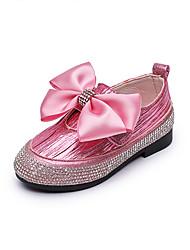 baratos -Para Meninas Sapatos Couro Ecológico Primavera Verão Conforto / Sapatos para Daminhas de Honra Rasos Caminhada Laço / Gliter com Brilho para Infantil Preto / Prata / Rosa claro