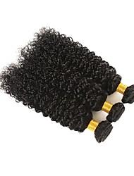 Недорогие -3 Связки Бразильские волосы Kinky Curly 8A Натуральные волосы Человека ткет Волосы Пучок волос Накладки из натуральных волос 8-28 дюймовый Естественный цвет Ткет человеческих волос