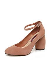 Недорогие -Жен. Обувь Овчина Осень Удобная обувь Обувь на каблуках На толстом каблуке Черный / Серый / Коричневый