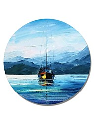 cheap -STYLEDECOR Modern Hand Painted Abstract Circular Frame A Sailboat on The Blue Sea Oil Painting on Canvas Wall