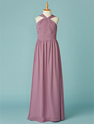 cheap -A-Line V Neck Floor Length Chiffon Junior Bridesmaid Dress with Ruffles by LAN TING BRIDE®