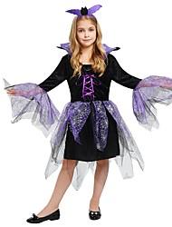baratos -Bruxa Roupa Para Meninas Dia Das Bruxas / Carnaval / Dia da Criança Festival / Celebração Trajes da Noite das Bruxas Roxo Sólido / Halloween Dia Das Bruxas