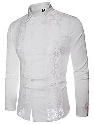 Недорогие -Муж. Кружева / С отверстиями / Пэчворк Рубашка Классический Контрастных цветов