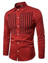 Недорогие -Муж. Аппликация / Сетка Рубашка Классический Однотонный / Длинный рукав