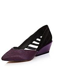 Недорогие -Жен. Обувь Конский волос Лето / Осень Удобная обувь Обувь на каблуках На плоской подошве Заостренный носок Лиловый / Желтый