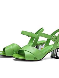 Недорогие -Жен. Обувь Наппа Leather Лето Удобная обувь / Туфли лодочки Сандалии На толстом каблуке Желтый / Зеленый