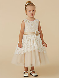 cheap -A-Line Tea Length Flower Girl Dress - Lace / Tulle Sleeveless Scoop Neck with Sash / Ribbon / Flower by LAN TING BRIDE®