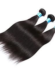 baratos -3 pacotes Cabelo Brasileiro / Cabelo Peruviano Liso Cabelo Virgem Extensões de Cabelo Natural 8-28 polegada Tramas de cabelo humano Fabrico à Máquina Melhor qualidade / 100% Virgem Extensões de