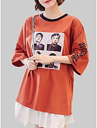 baratos -Mulheres Camiseta Patchwork / Estampado, Sólido / Letra / Retrato Algodão Decote Redondo