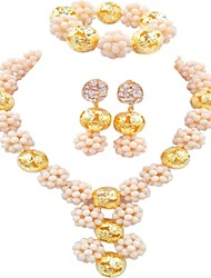 cheap -Women's Thick Chain Jewelry Set - Fashion Include Bracelet / Earrings / Bracelet / Y Necklace Blue / Hot Pink / Champagne For Wedding / Festival