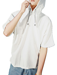 cheap -Men's Short Sleeve Hoodie - Solid Colored Hooded