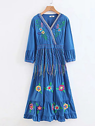 hesapli -Kadın's A Şekilli Elbise Desen Diz-boyu