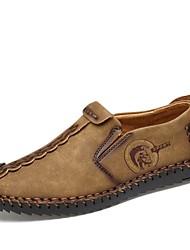 Недорогие -Муж. Искусственная кожа Осень Удобная обувь Мокасины и Свитер Черный / Верблюжий / Хаки